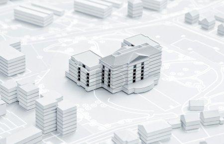 Photo pour Modèle 3D de l'appartement moderne sur le plan de ville en papier - image libre de droit