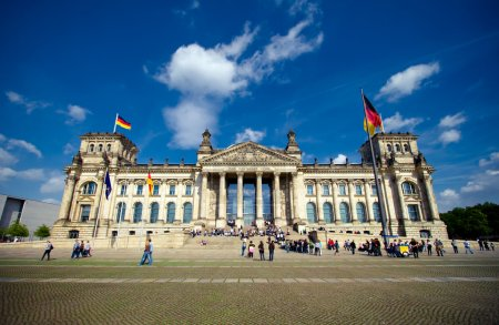 Reichstag in Berlin on sunny day