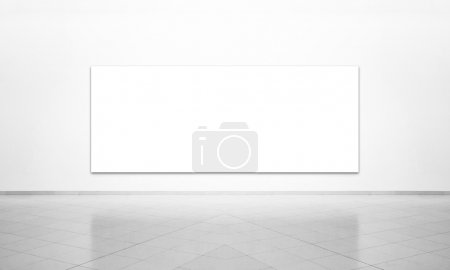 Photo for Black and white shot of the white background with frame on the wall in simple white interior - Royalty Free Image
