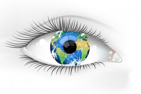 Illustration for Illustration of a beautiful female Earth eye - Royalty Free Image