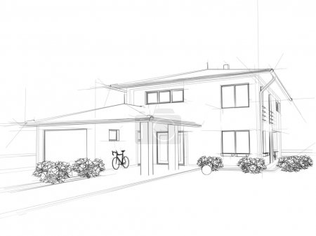 Photo for Illustation of a house. Black ink drawing. - Royalty Free Image