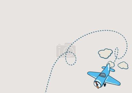 Illustration pour Illustration d'un avion bleu avec des nuages beiges - image libre de droit