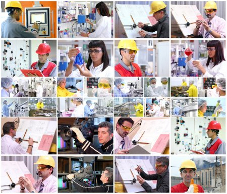 Photo for Collage of images with of different professions at work. - Royalty Free Image