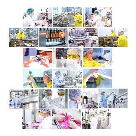 Photo pour Collage industriel montrant des travailleurs au travail sur la production de médicaments dans l'usine de produits pharmaceutiques - vaccins, médicaments en ampoules, comprimés, capsules, comprimés - image libre de droit