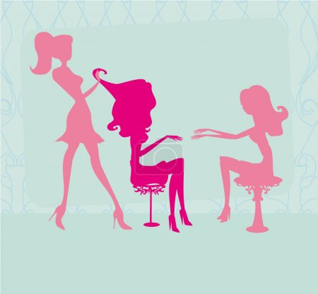 illustration of the beautiful woman in beauty salon