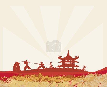 Photo pour Silhouette samouraï dans le paysage asiatique - image libre de droit