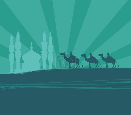 Photo pour Illustration de la traditionnelle crèche Noël chrétien avec les trois rois mages - image libre de droit