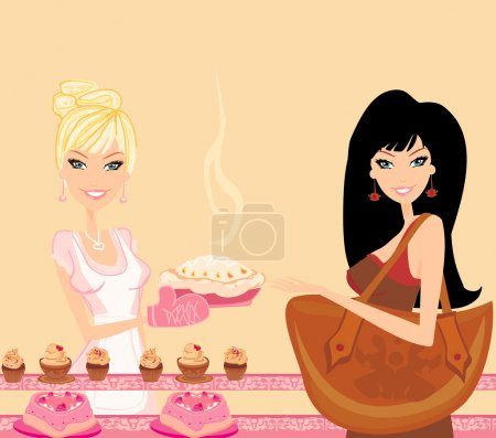 Photo pour Illustration d'une femme achetant du gâteau dans une boulangerie - image libre de droit