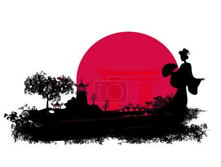 Illustration for Abstract Asian Landscape with geisha - Royalty Free Image