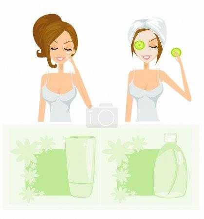 Beauty women getting facial mask set