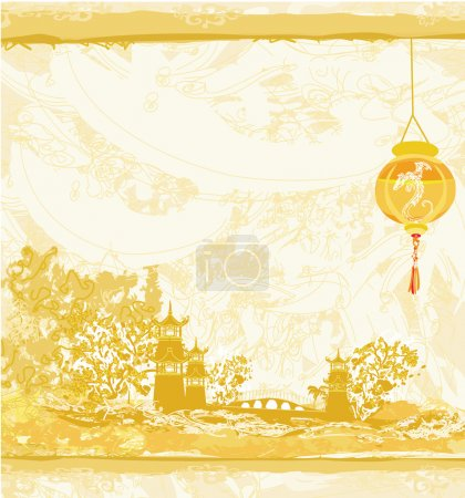 Illustration for Old paper with Asian Landscape and Chinese Lanterns - vintage japanese style background - Royalty Free Image