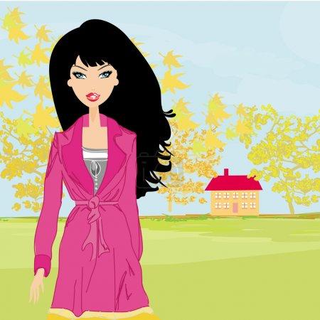 Illustration pour Belle fille d'automne - vecteur - image libre de droit