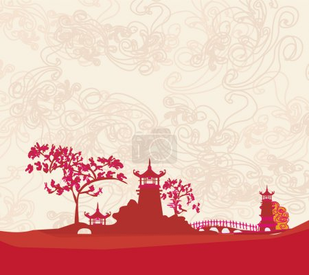 Illustration for Old paper with Asian Landscape - Royalty Free Image