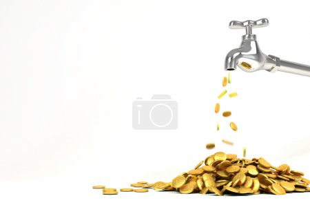 3d Golden Coin from Faucet