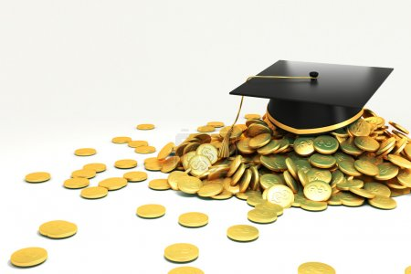 Photo for 3d image of mortar board on hip of gold coin against white background - Royalty Free Image