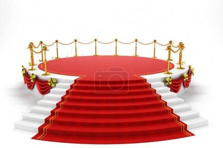 Photo pour 3d image de tapis rouge sur l'étape de la scène - image libre de droit