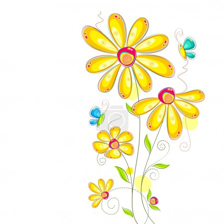 Illustration for Vector illustration of colorful flower against white background - Royalty Free Image