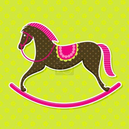 Vector Rocking Horse Baby Card
