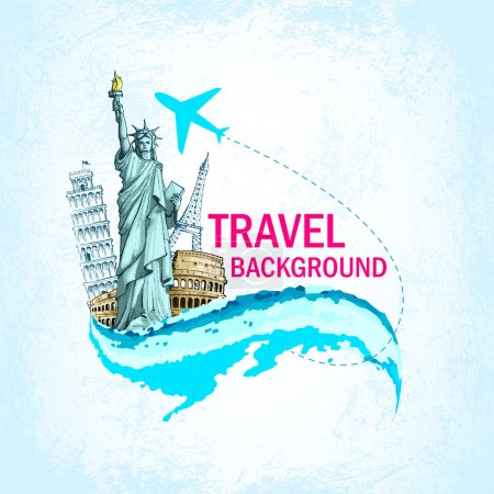 Illustration for Vector illustration of statue of liberty and eiffel tower showing travelling - Royalty Free Image