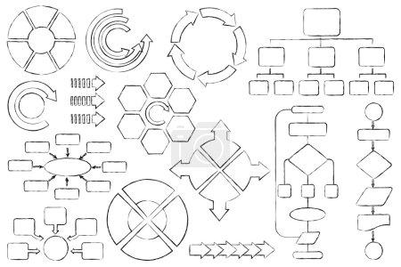 Illustration for Vector illustration of empty flow chart diagram outline - Royalty Free Image