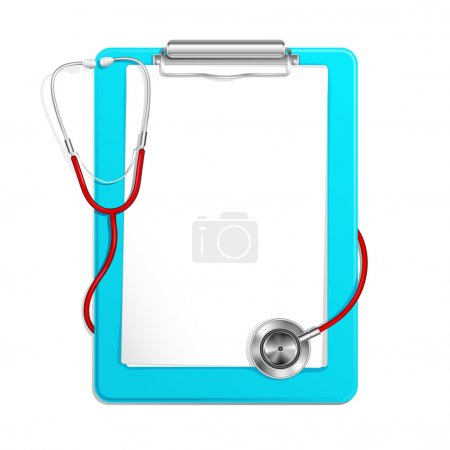 Illustration for Vector illustration of medical clipboard and stethoscope - Royalty Free Image