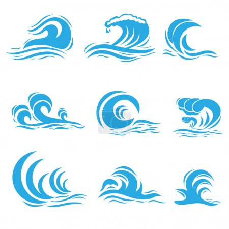 Illustration for Vector illustration of set of different style wave - Royalty Free Image