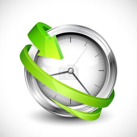 Photo pour Illustration vectorielle de flèche se déplaçant autour de l'horloge murale - image libre de droit