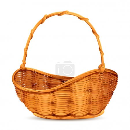 Vector illustration of wicker basket on white back...
