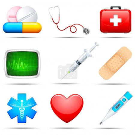 Illustration for Vector illustration of set of medical icon on white background - Royalty Free Image