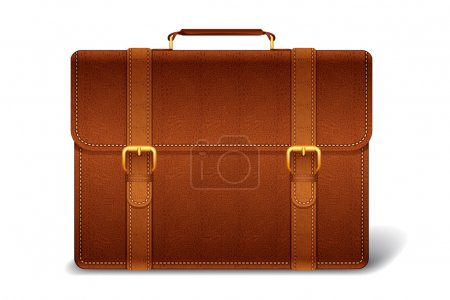 Illustration for Vetor illustration of leather briefcase against white background - Royalty Free Image