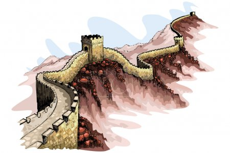 Illustration pour Illustration vectorielle de la grande muraille de Chine sur fond abstrait - image libre de droit