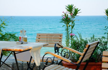 Table at the sea coast