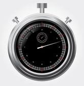 Vector stopwatch in high detail. Retro mechanic chromed