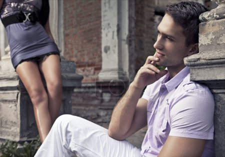 Young couple resting on the outdoor