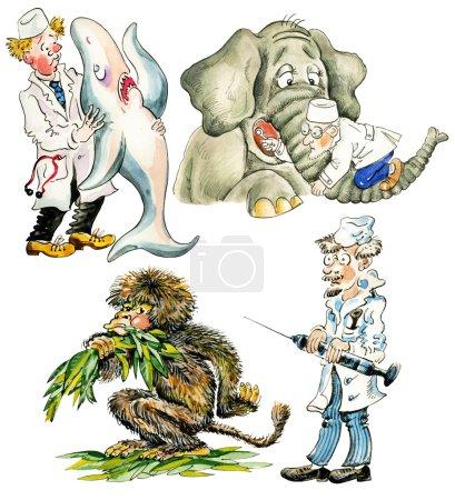 Photo pour Vétérinaires de dessin animé avec des animaux différents. isolé. - image libre de droit