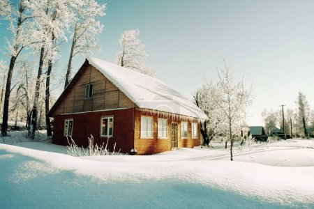 Trees in hoarfrost and red house on morning of winter village