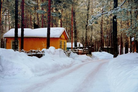 Tourist lodge in the woods in winter