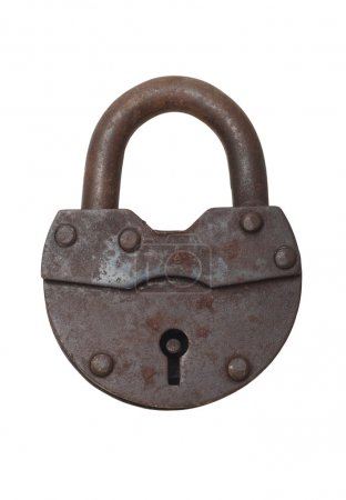 Photo for Old vintage lock on a white background (isolated). - Royalty Free Image