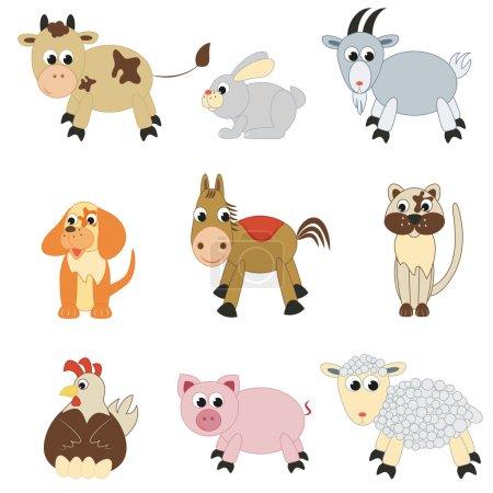 Illustration for Set of farm animals on white background - Royalty Free Image
