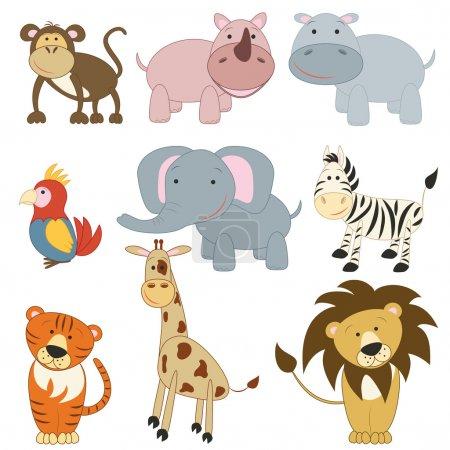 Illustration for Cartoon african animals set on white background - Royalty Free Image