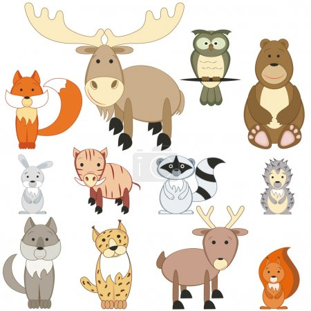 Illustration for Cute cartoon forest animals set on white background - Royalty Free Image