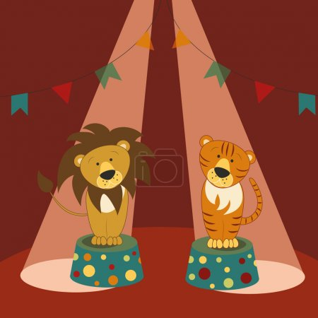 Lion and tiger on pedestals in circus