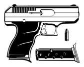 9mm Pistol Black and White Handgun Cartoon Vector Graphic Illustration