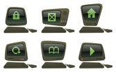 Here are six retro looking cartoon vectors of computers