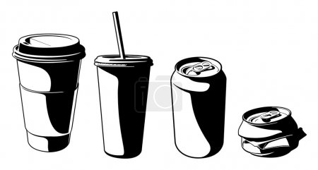 Illustration for These are vector graphics of some plastic cups and soda cans. - Royalty Free Image