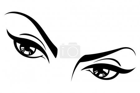 Illustration pour Ceci est une illustration vectorielle d'une paire d'yeux féminins . - image libre de droit