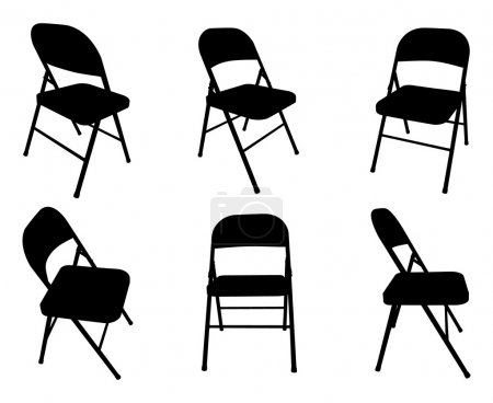 Illustration for Six vector silhouettes of fold out chairs. - Royalty Free Image