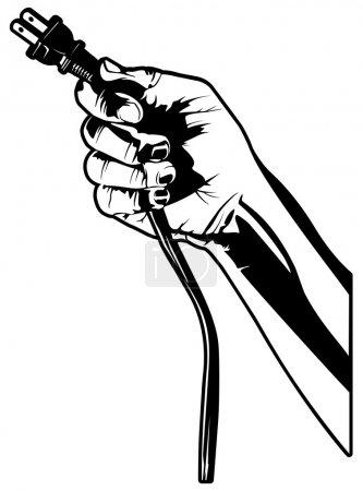 Illustration pour Illustration vectorielle d'une main tenant une fiche électrique . - image libre de droit