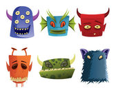 Six Vector Monster Head Icons