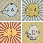 Here are four cartoon vector piggy banks....